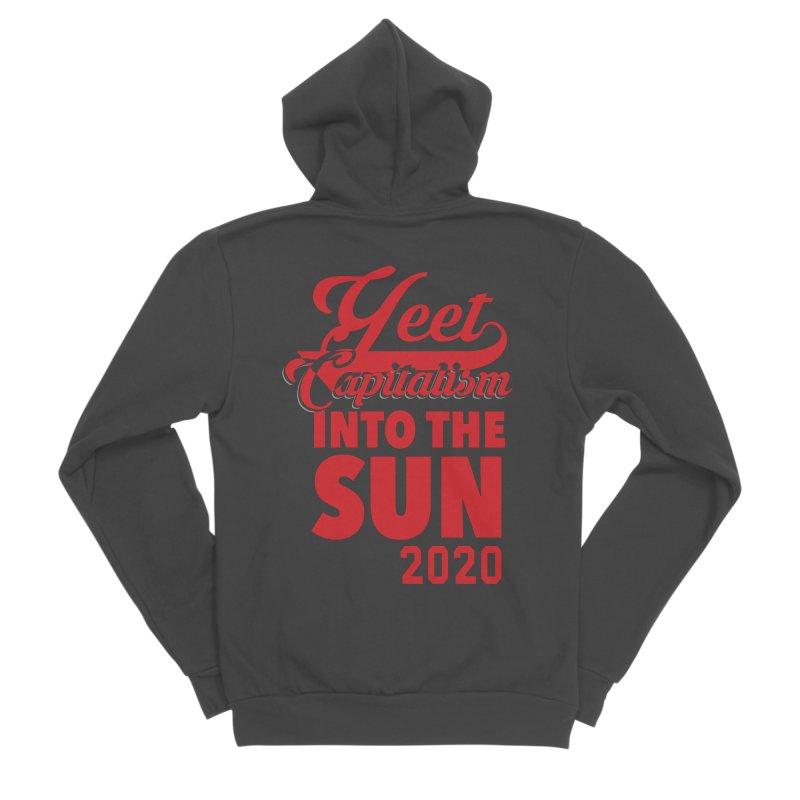 Yeet Capitalism Into The Sun on black Men's Sponge Fleece Zip-Up Hoody by eric cash
