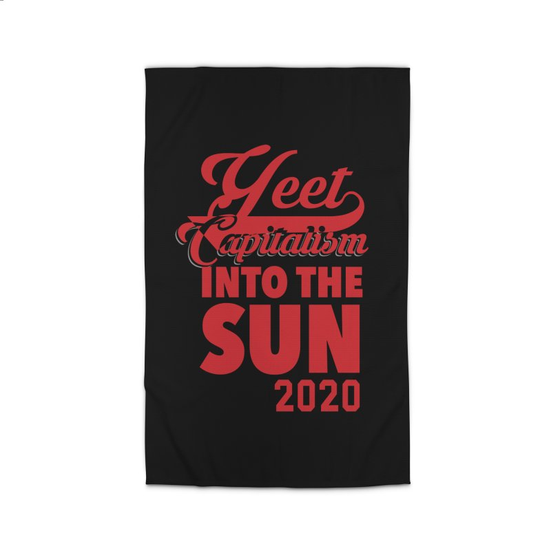 Yeet Capitalism Into The Sun on black Home Rug by eric cash