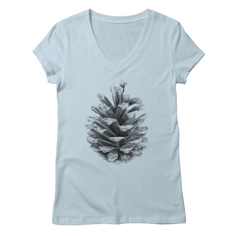 Pine Cone Women's V-Neck by ericfan's Artist Shop