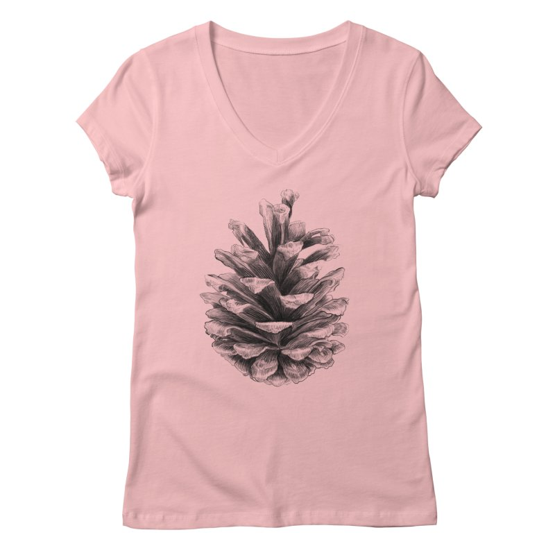 Pine Cone Women's V-Neck by ericfan's Artist Shop
