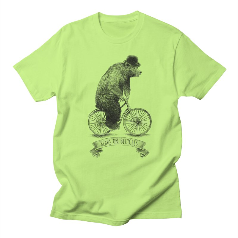 Bears on Bicycles in Men's T-shirt Neon Green by ericfan's Artist Shop