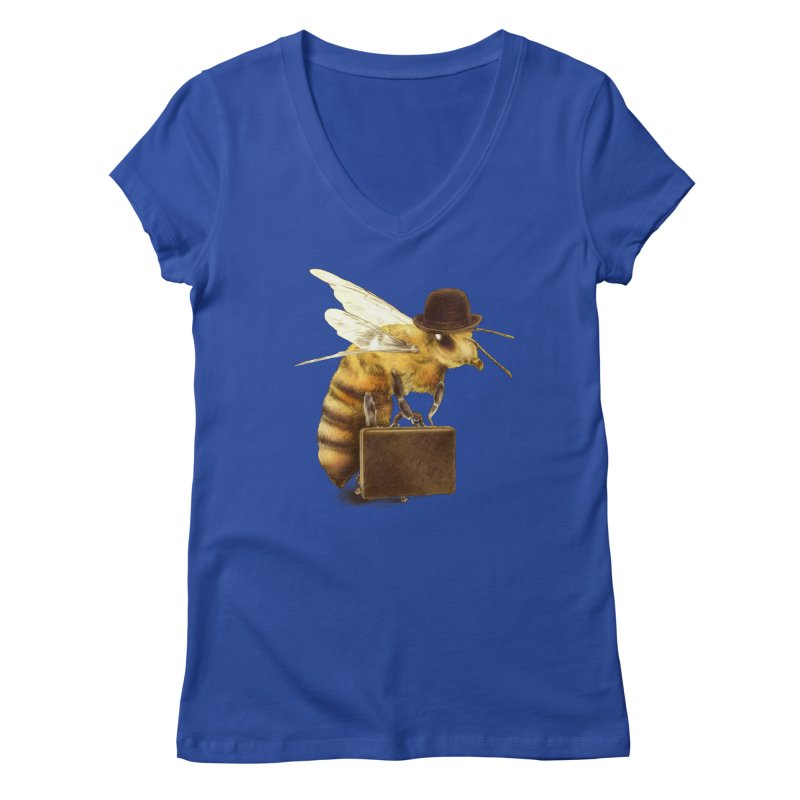 Worker Bee Women's V-Neck by ericfan's Artist Shop
