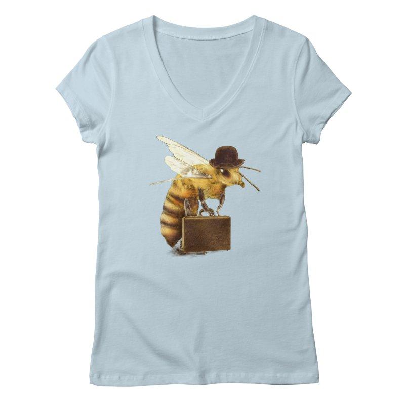 Worker Bee Women's V-Neck by ericfan's Artist Shop