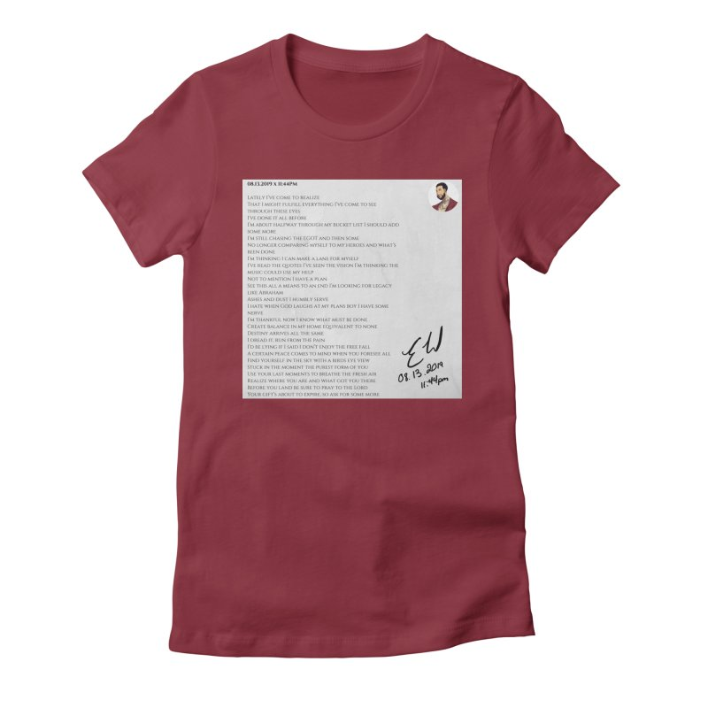 08.13.2019 x 11:44PM Women's Fitted T-Shirt by Eric Washington's Merch Shop