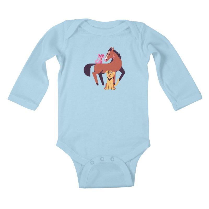 Depressed Horse & Friends Kids Baby Longsleeve Bodysuit by Erikas