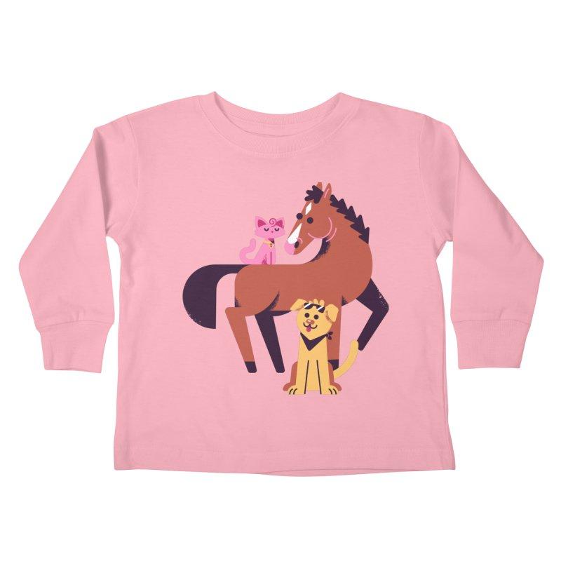 Alcoholic Horse & Friends Kids Toddler Longsleeve T-Shirt by Erikas