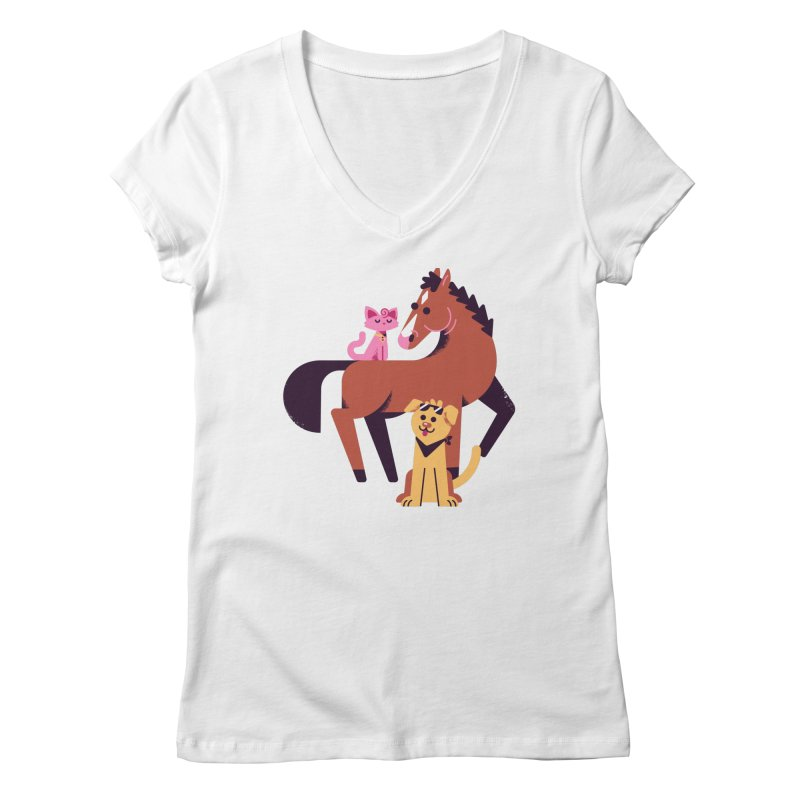 Depressed Horse & Friends Women's V-Neck by Erikas