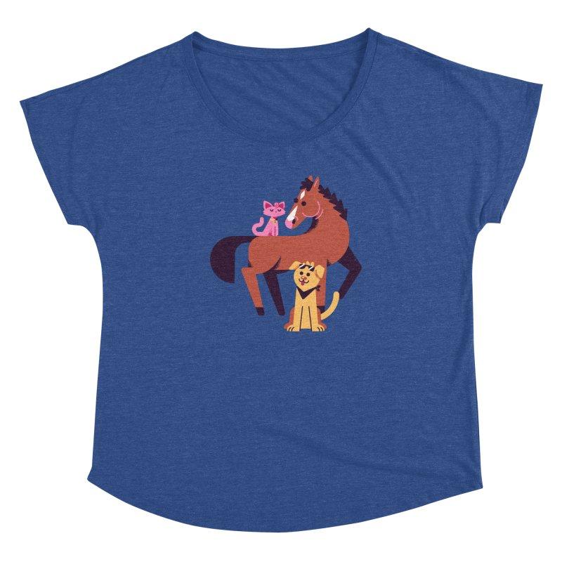 Depressed Horse & Friends Women's Scoop Neck by Erikas