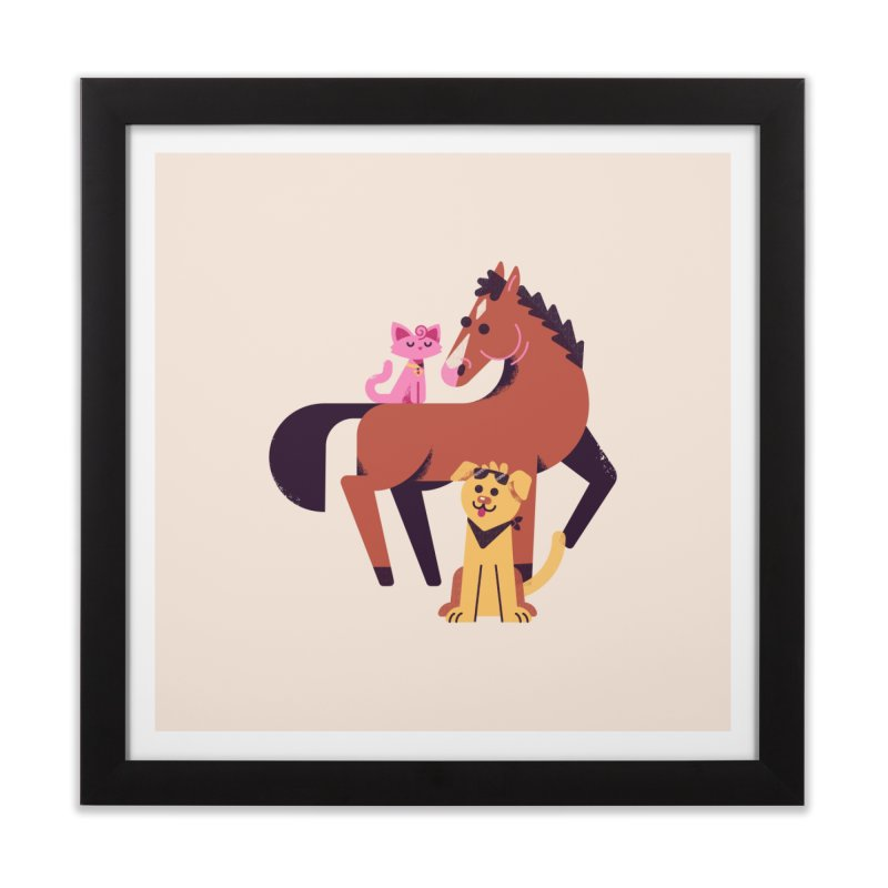 Depressed Horse & Friends Home Framed Fine Art Print by Erikas