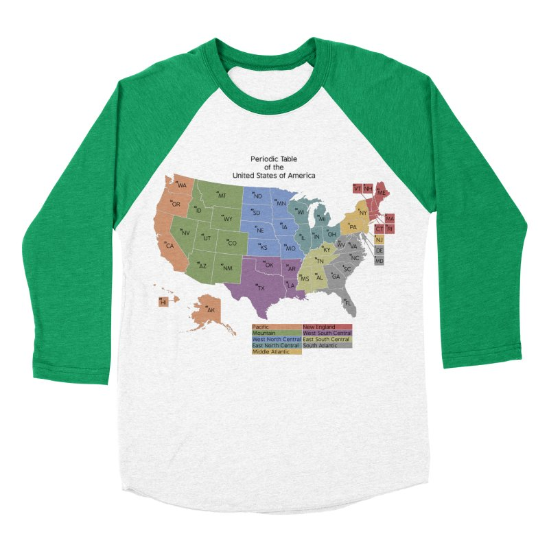 Periodic Table of the United States of America Men's Baseball Triblend Longsleeve T-Shirt by Eriklectric's Artist Shop
