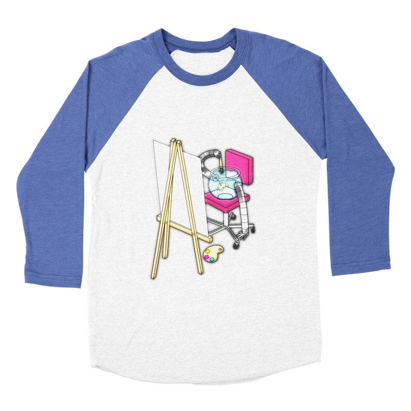 Fish Painter Men's Baseball Triblend T-Shirt by Eriklectric's Artist Shop