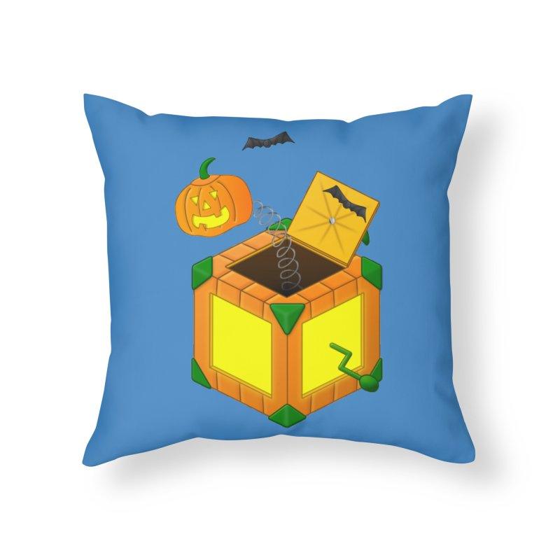 Jack-O-Lantern-In-The-Box Home Throw Pillow by Eriklectric's Artist Shop