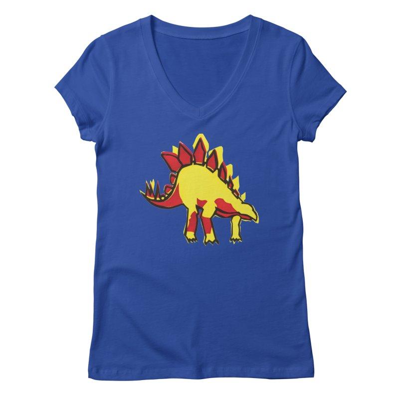 Stegosaurus Women's V-Neck by erintaniguchi's Artist Shop