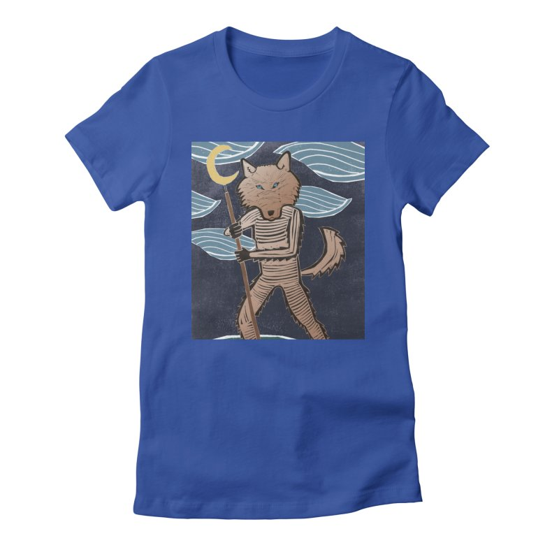 The Moon Women's Fitted T-Shirt by erintaniguchi's Artist Shop