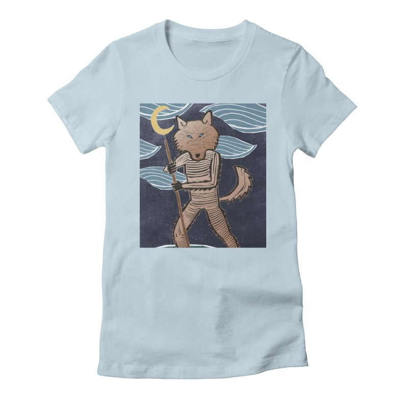 The Moon Women's Fitted T-Shirt by erintaniguchi's Artist Shop