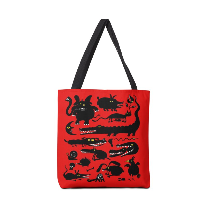 Creatures Red Tote Bag  in Tote Bag by Ermina Takenova