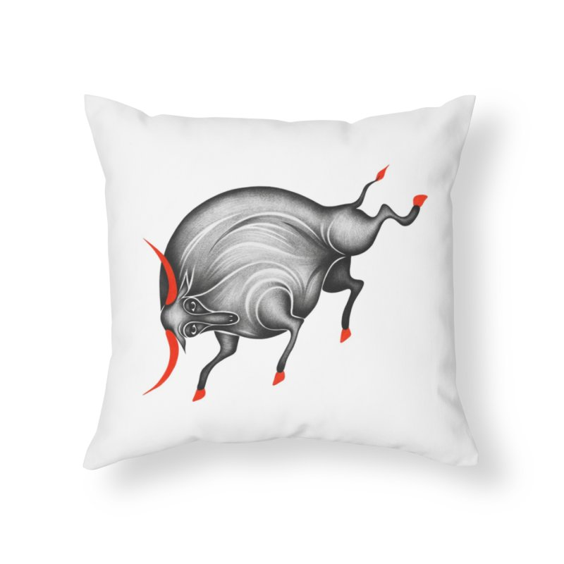 Bull Home Throw Pillow by Ermina Takenova