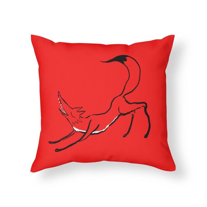 Downward Fox Home Throw Pillow by Ermina Takenova