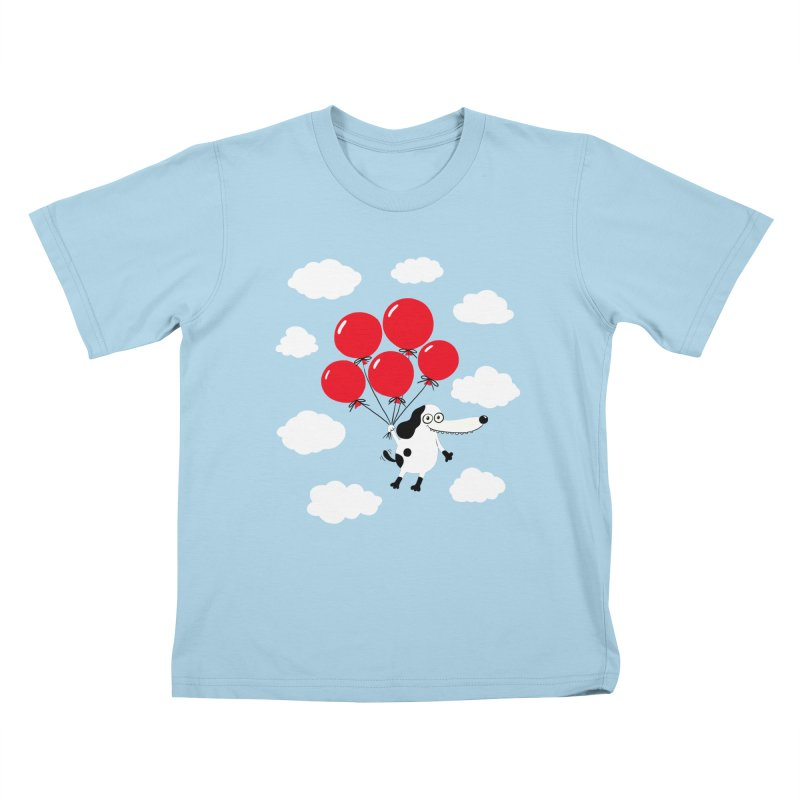 Flying Dog Kids T-Shirt by Ermina Takenova