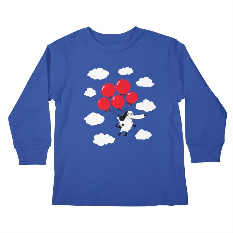 Flying Dog Kids Longsleeve T-Shirt by Ermina Takenova