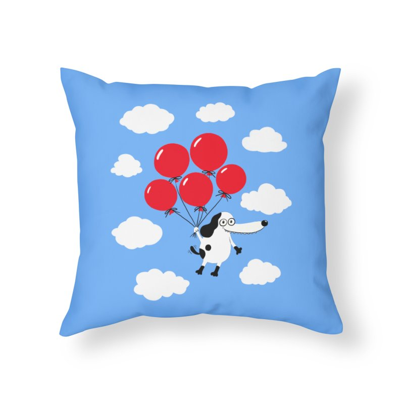 Flying Dog Home Throw Pillow by Ermina Takenova