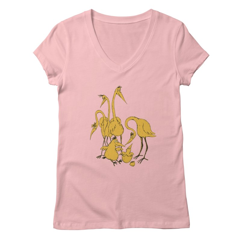 Bird Family Love Women's V-Neck by Ermina Takenova
