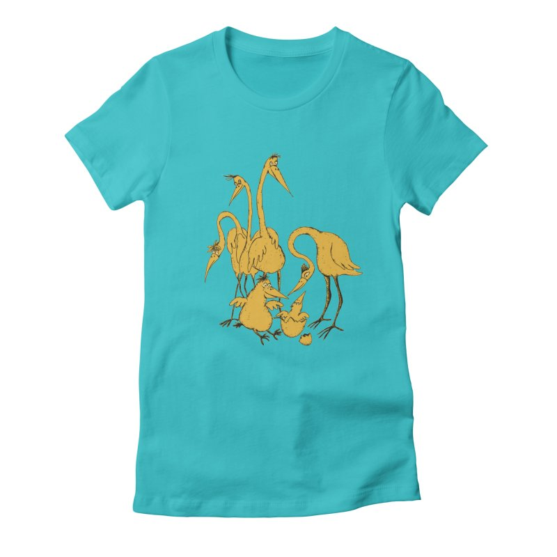 Bird Family Love Women's Fitted T-Shirt by Ermina Takenova