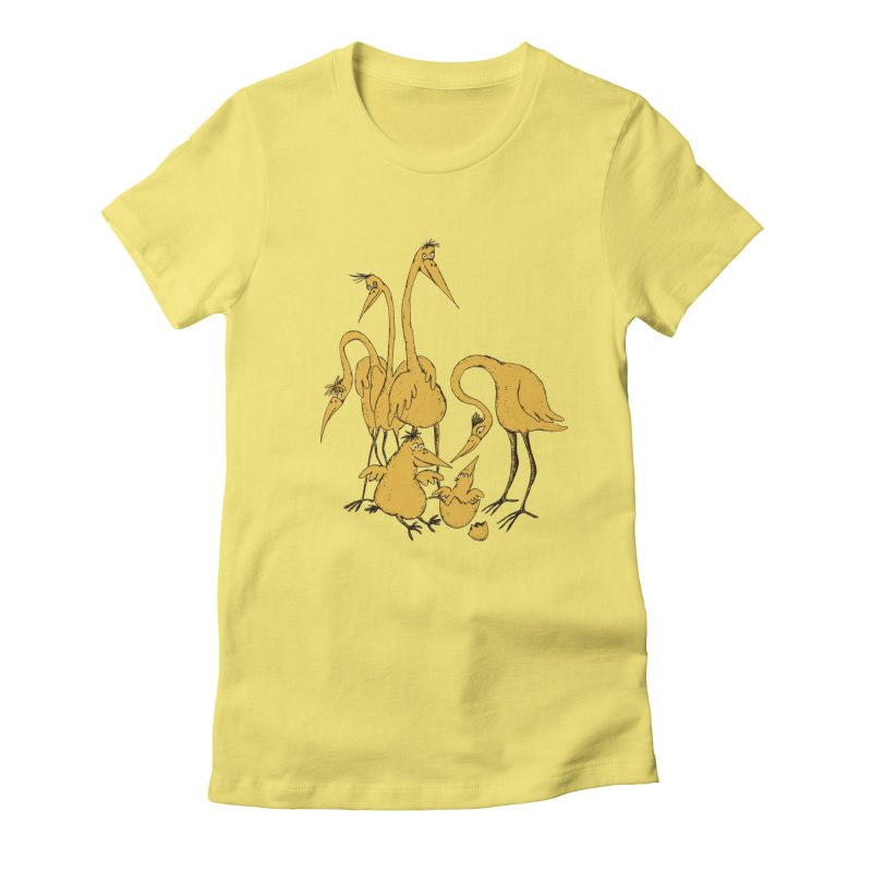 Bird Family Love Women's Fitted T-Shirt by Ermina Takenova