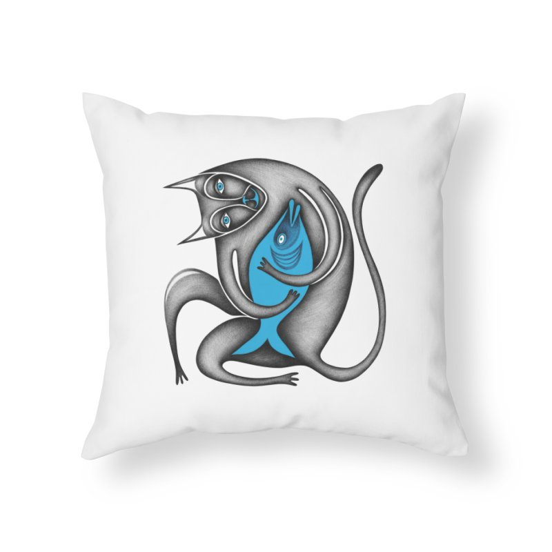 Cat's Dream Home Throw Pillow by Ermina Takenova