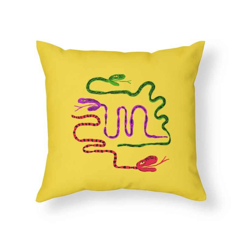 Snake Party in Throw Pillow by Ermina Takenova