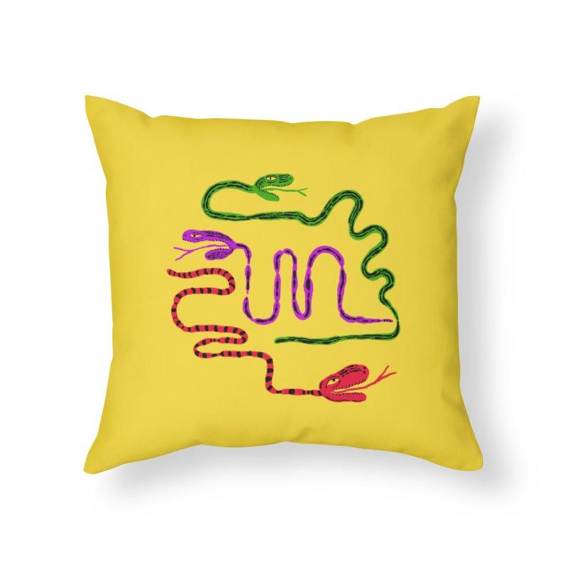 Snake Party Home Throw Pillow by Ermina Takenova