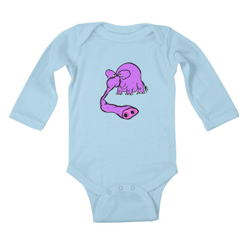 Purple Elephant Kids Baby Longsleeve Bodysuit by Ermina Takenova
