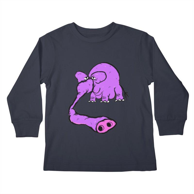 Purple Elephant Kids Longsleeve T-Shirt by Ermina Takenova