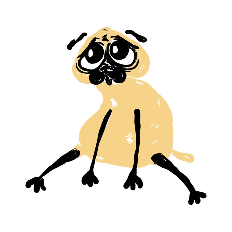 Sad Pug by Ermina Takenova