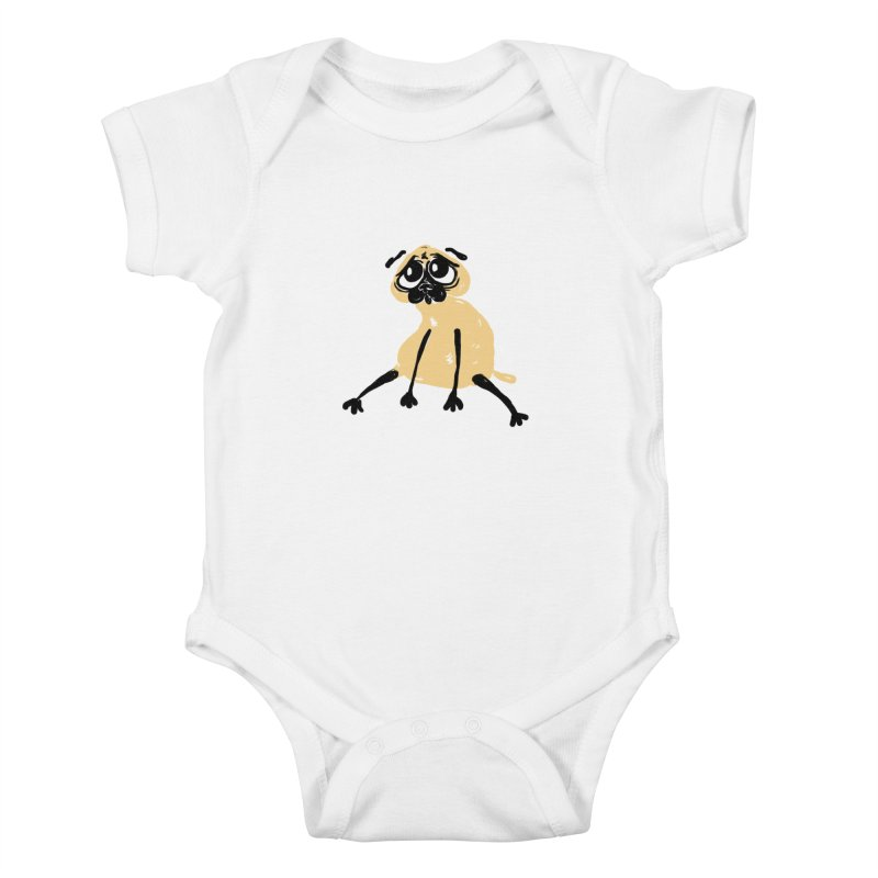 Sad Pug Kids Baby Bodysuit by Ermina Takenova