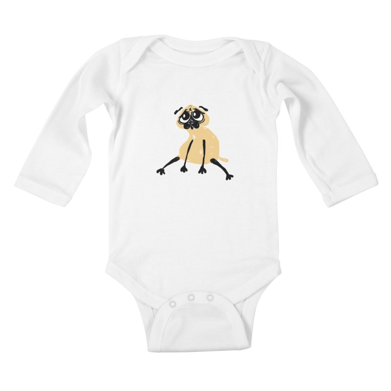 Sad Pug Kids Baby Longsleeve Bodysuit by Ermina Takenova
