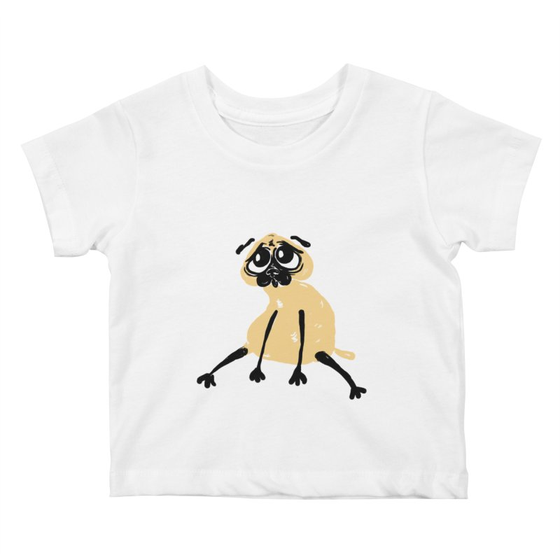 Sad Pug Kids Baby T-Shirt by Ermina Takenova