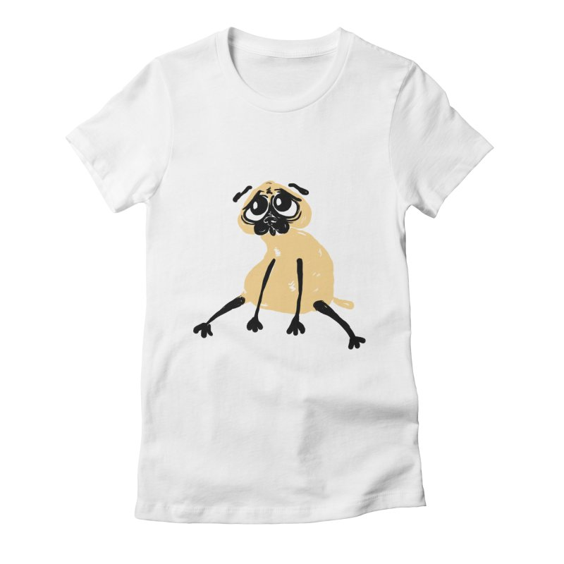 Sad Pug Women's Fitted T-Shirt by Ermina Takenova