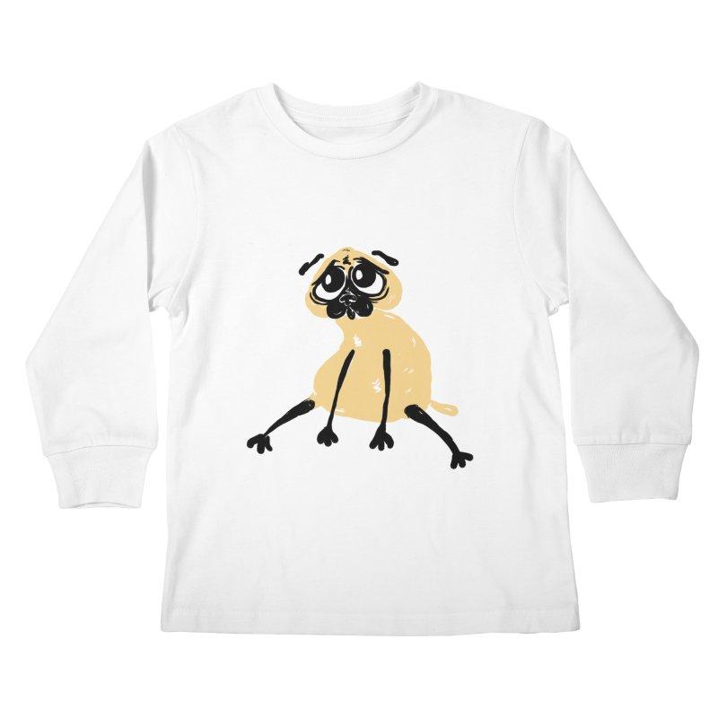 Sad Pug Kids Longsleeve T-Shirt by Ermina Takenova