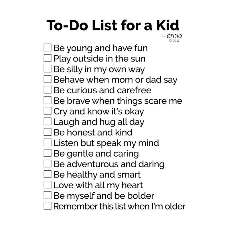 To-Do List for a Kid by ernio's art Shop ⓔ