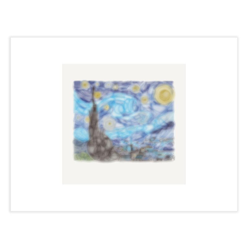 Geometric Starry Night Home Fine Art Print by ernio's art Shop ⓔ
