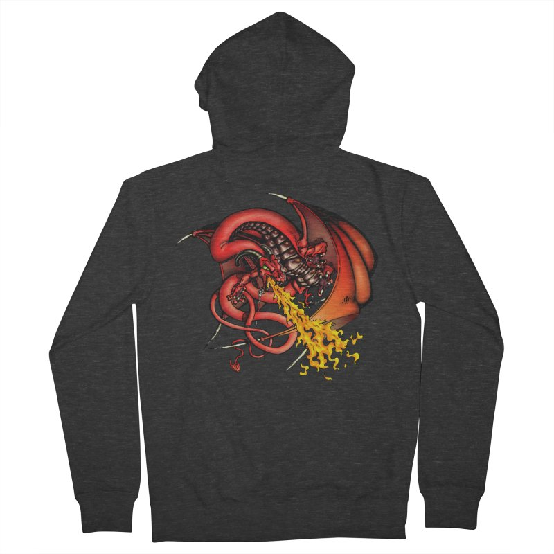 Red Dragon Men's French Terry Zip-Up Hoody by Red Robot