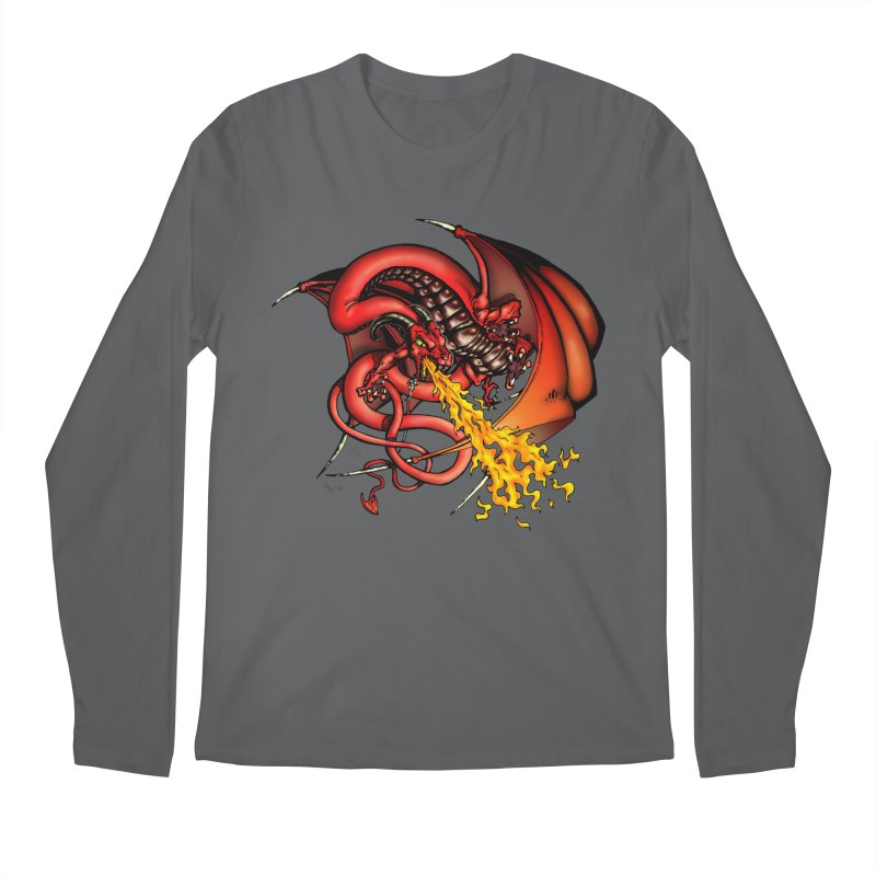 Red Dragon Men's Regular Longsleeve T-Shirt by Red Robot