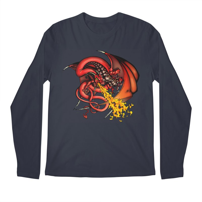 Red Dragon Men's Regular Longsleeve T-Shirt by Red Robot