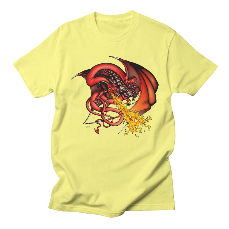 Red Dragon Men's Regular T-Shirt by Red Robot