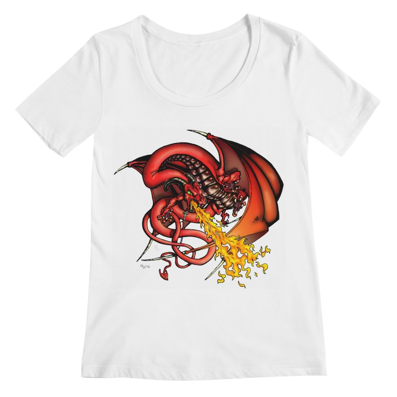 Red Dragon Women's Regular Scoop Neck by Red Robot