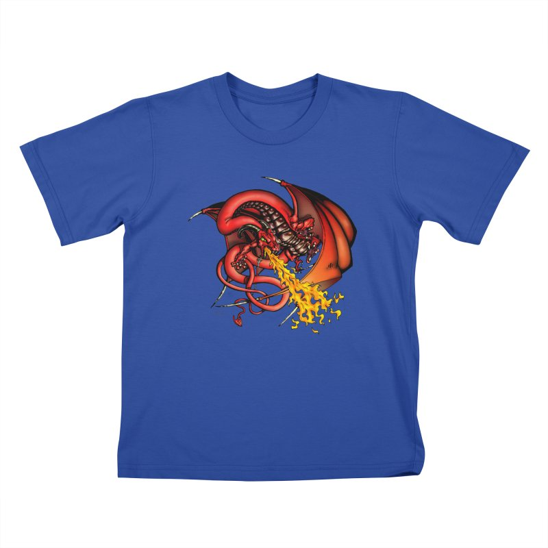 Red Dragon Kids T-Shirt by Red Robot