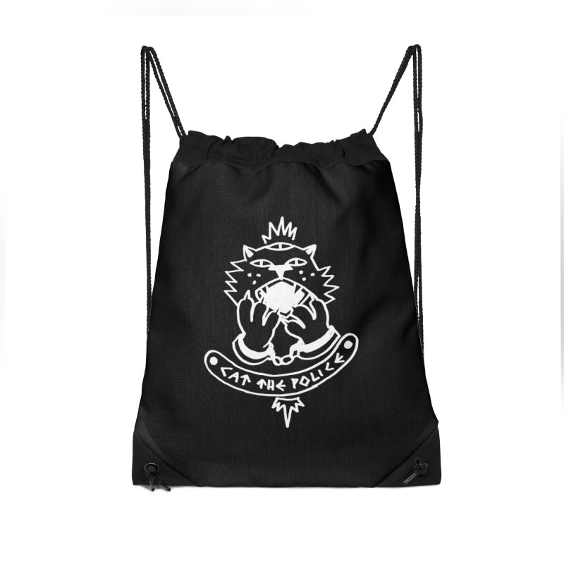 Cat the police Accessories Drawstring Bag Bag by Ertito Montana