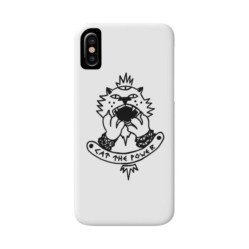 Cat the power (black line) Accessories Phone Case by Ertito Montana