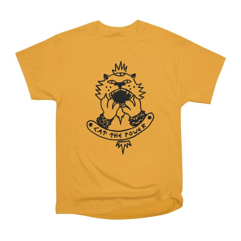 Cat the power (black line) Women's Heavyweight Unisex T-Shirt by Ertito Montana